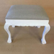 Small-Ball-&-Claw-White-Leg-Stool-With-Grey-Linen