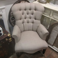 Buttoned-Grey-Armchair