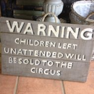 Handmade Wooden Sign Warning Children LMIS11