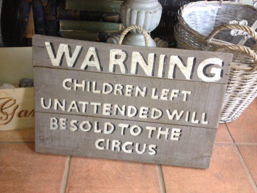 Handmade Wooden Sign Warning Children LMIS11